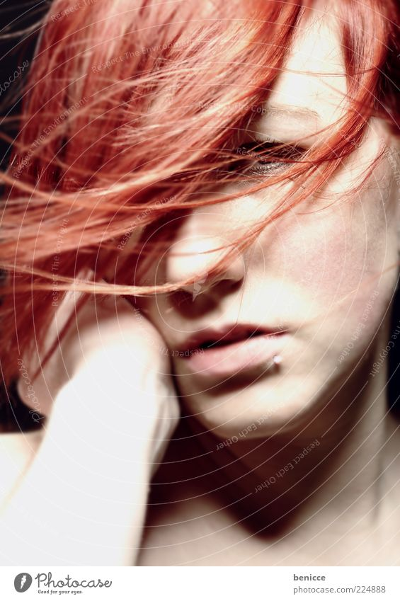 autumn red Woman Portrait photograph Red Red-haired Hair and hairstyles Wind Studio shot Close-up Earnest Sadness Feminine Piercing Looking into the camera