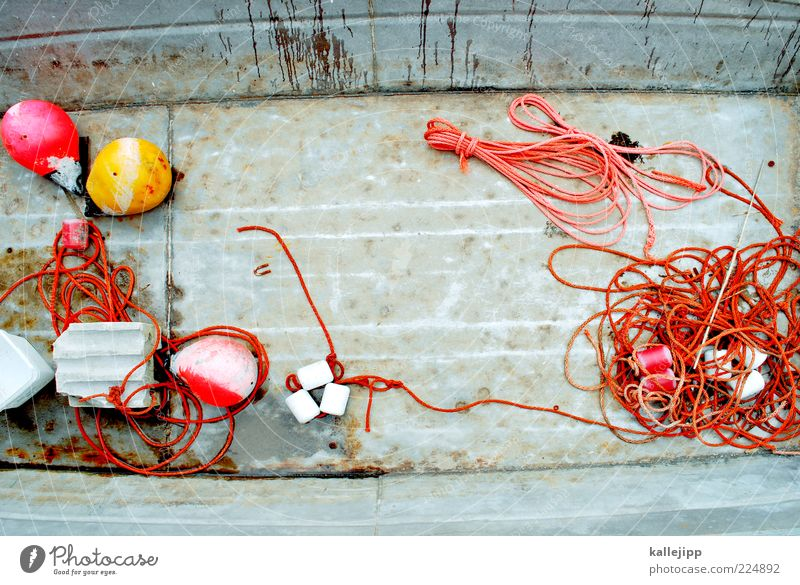 Old Work and employment Metal Watercraft Orange Rope String Steel Navigation Iron Weathered Rubber Fishery Rowboat Fishing boat Buoy