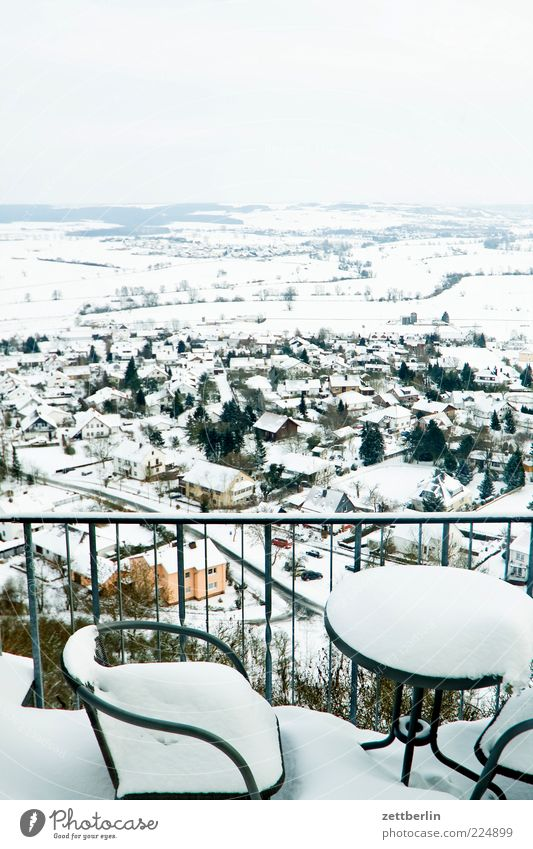 Winter Far-off places Snow Mountain Landscape Moody Horizon Table Perspective Chair Gastronomy Village Restaurant Vantage point Handrail Terrace