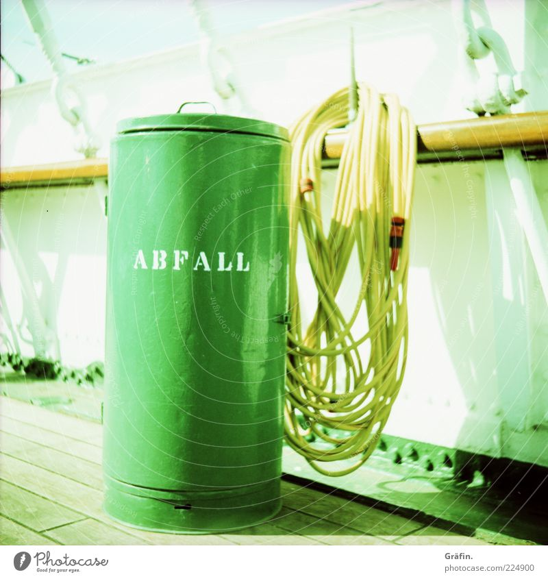 Green Yellow Bright Watercraft Characters Clean Trash Hang Hose Sustainability Trash container Keg Plank Railing Inscription Cleanliness