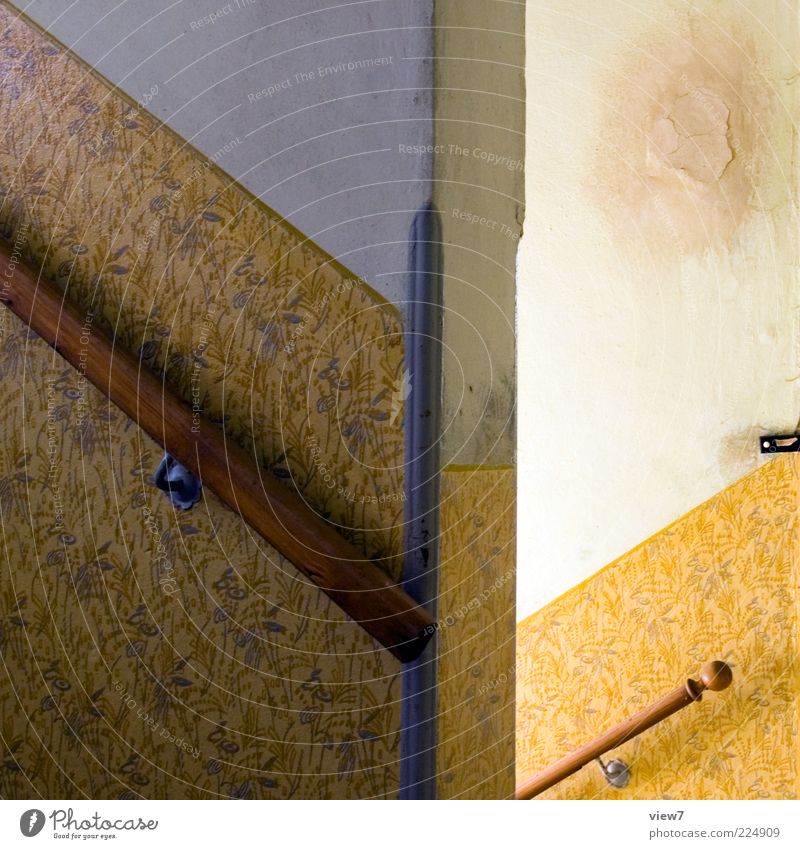 Old Beautiful Loneliness Yellow Wall (building) Wall (barrier) Line Stairs Esthetic Authentic Retro Change Simple Decoration Wallpaper Handrail