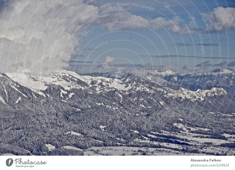 Far-sightedness. Environment Nature Landscape Elements Air Sky Clouds Sunlight Winter Climate Weather Beautiful weather Snow Forest Hill Rock Alps Mountain Peak