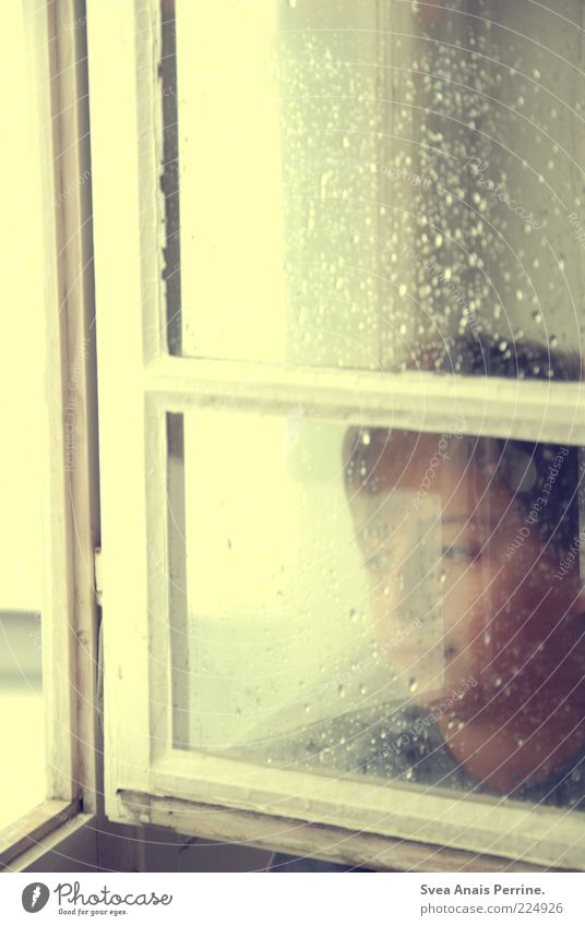 Human being Child Loneliness Window Emotions Dream Sadness Rain Moody Think Wait Wet Drops of water Infancy Hope Gloomy
