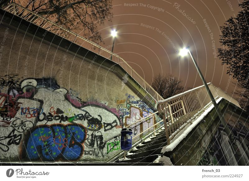 steep stairs Snow Frankfurt Bridge Wall (barrier) Wall (building) Cold Town Blue Yellow Movement Graffiti Handrail Stairs Daub Winter Robbery Fear Line Lantern