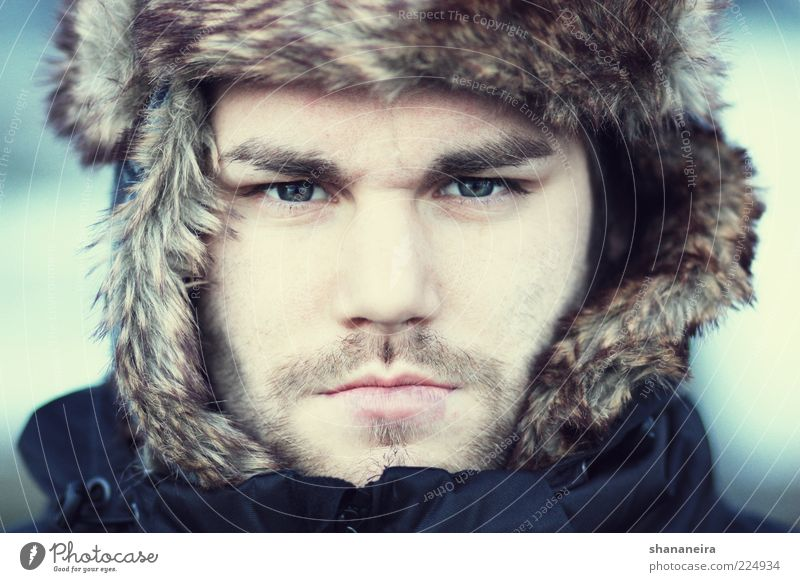 Nanook of the North Style Human being Masculine Young man Youth (Young adults) Face Winter Cap Facial hair Freeze Cold Rebellious Strong Blue Cool (slang) Power