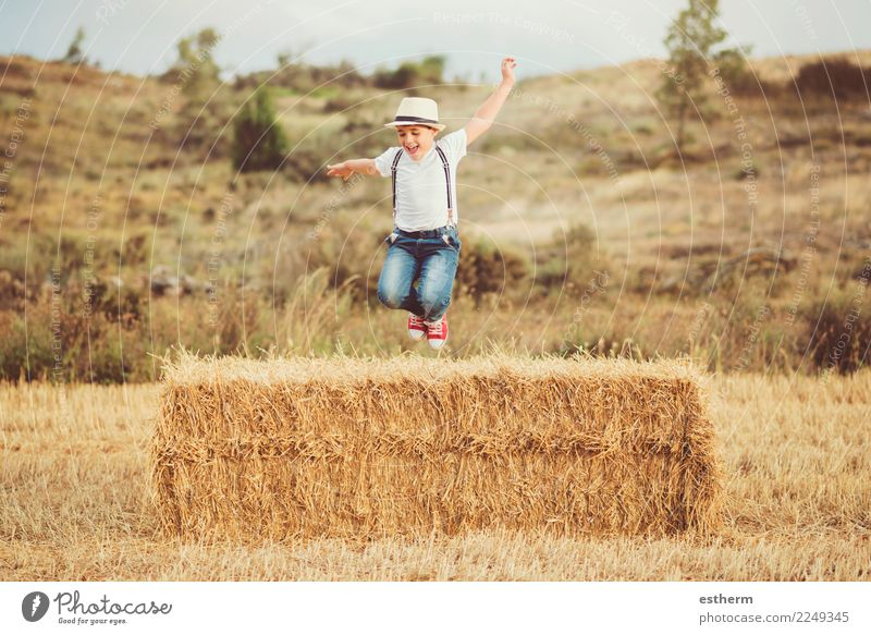 Happy child in the field Child Human being Nature Vacation & Travel Summer Joy Lifestyle Meadow Laughter Boy (child) Playing Trip Masculine Field Infancy