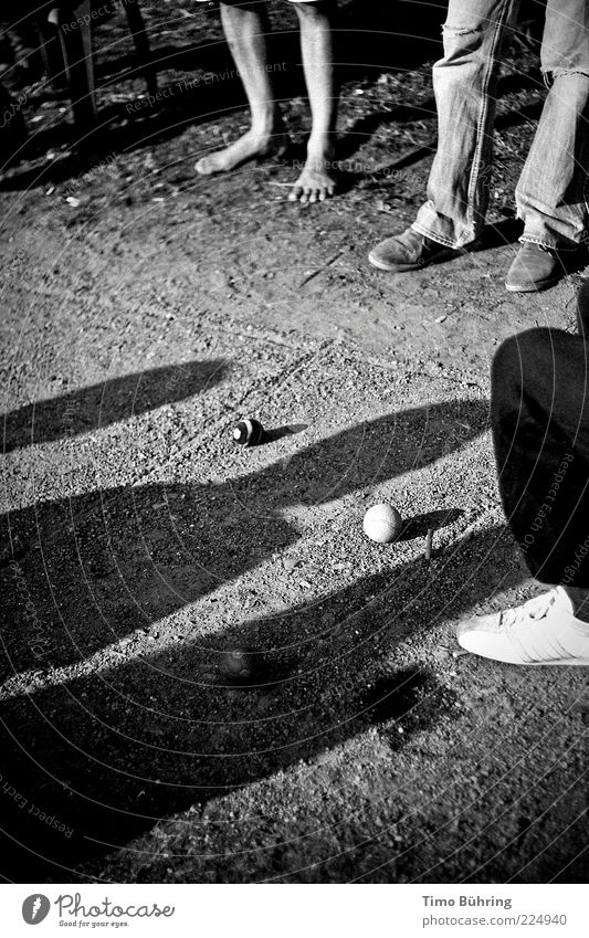 shadow play Human being Legs Feet 3 Earth Sunlight Sand Sphere Playing Stand Simple Natural Black White Gravel Black & white photo Exterior shot Copy Space left