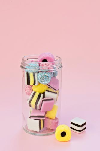 Glass jar with jelly chewing sweets Blue Colour Red Joy Eating Yellow Party Feasts & Celebrations Group Pink Copy Space Birthday Wedding Delicious Candy