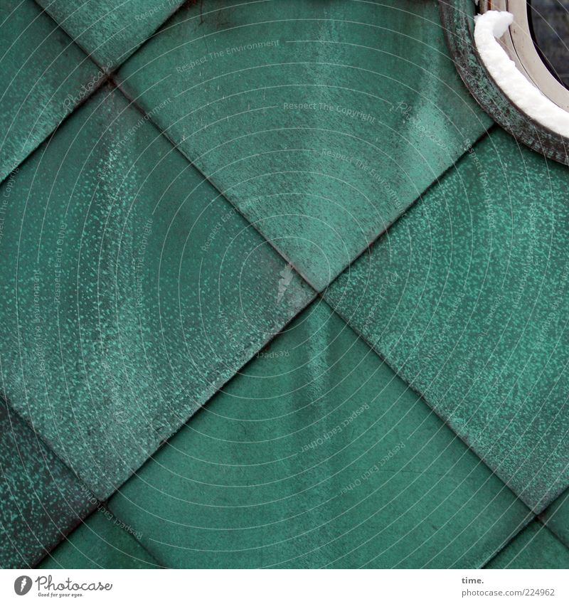 Green Wall (building) Snow Window Background picture Facade Corner Round Square Crucifix Turquoise Diagonal Geometry Parallel Symmetry Tin