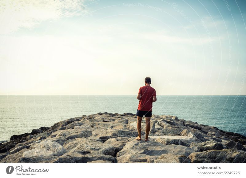 Infinitely free! Healthy Vacation & Travel Tourism Far-off places Freedom Summer Summer vacation Sun Sunbathing Beach Ocean Young man Youth (Young adults) Man