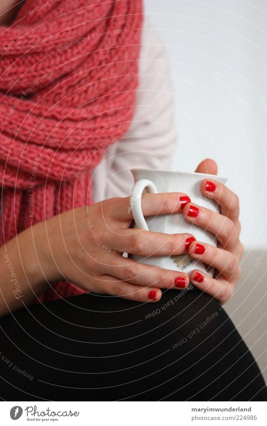 Youth (Young adults) Beautiful Hand Red Calm Relaxation Young woman Feminine Think Contentment Coffee Drinking To hold on To enjoy Tea Snapshot