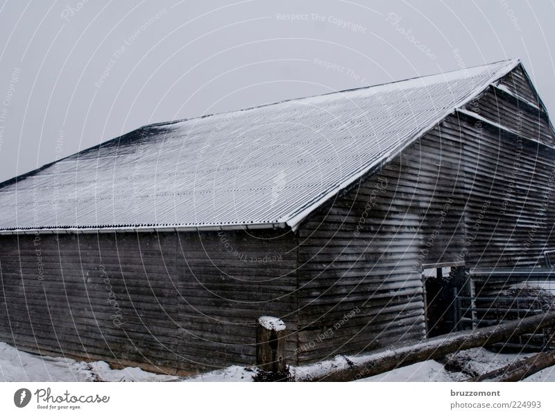 Winter Cold Snow Wood Building Weather Frost Roof Protection Farm Agriculture Fence Freeze Barn Section of image Partially visible