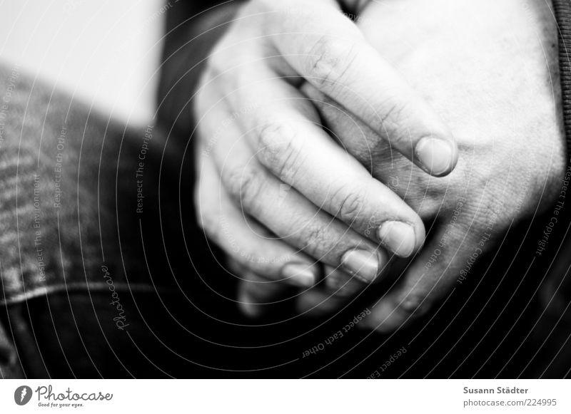 feel. Masculine Hand Fingers Wait Fingernail Folded Thin Black & white photo Interior shot Close-up Detail Copy Space left Blur Men`s hand Patient Finger joint