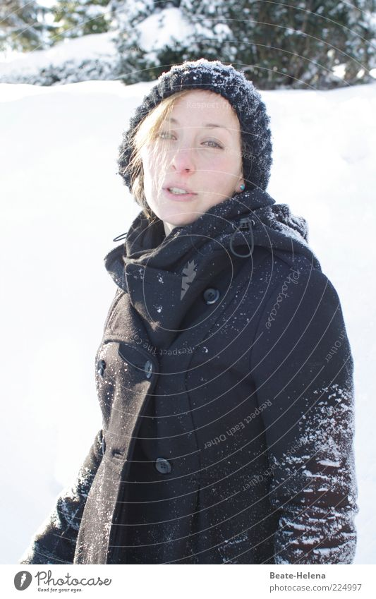That's it - goodbye snow! Young woman Youth (Young adults) Head 18 - 30 years Adults Nature Winter Snow Coat Cap Blonde Looking Authentic Beautiful Thin Black