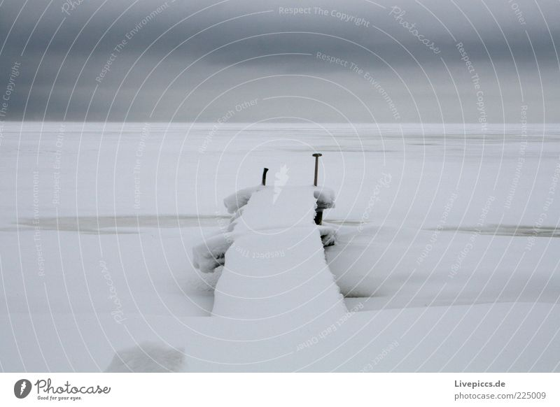 White Winter Far-off places Cold Dark Snow Gray Ice Horizon Frost Infinity End Frozen Lakeside Jetty Surrealism