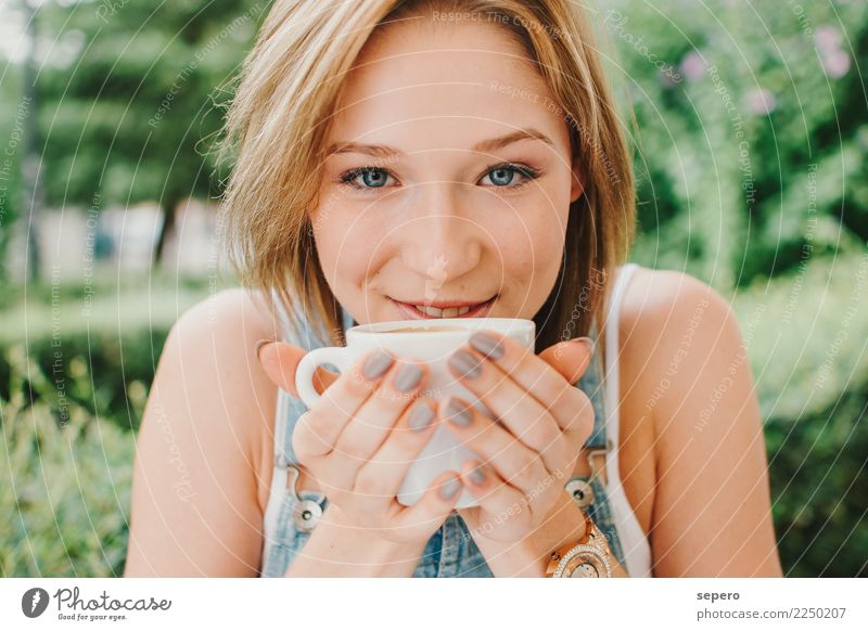 Beauty coffe girl young Woman Human being Beautiful Green Relaxation Joy Face Adults Life Lifestyle Style Happy Work and employment Contentment Fruit Park