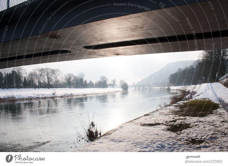 See Weser bridge... and die? Environment Nature Water Weather Beautiful weather Ice Frost Snow River Höxter Weserbergland North Rhine-Westphalia Bridge