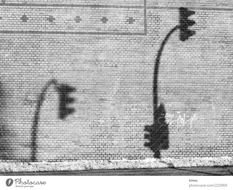 election cramping rhetoric Snow Wall (barrier) Wall (building) Street Traffic light Stone Brick Ornament Large Small Gray Arrogant Hafenstraße Crooked