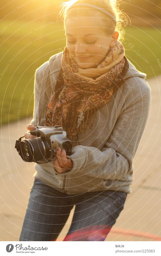 Human being Youth (Young adults) Beautiful Joy Face Autumn Feminine Happy Fashion Blonde Photography Happiness Jeans To hold on Camera