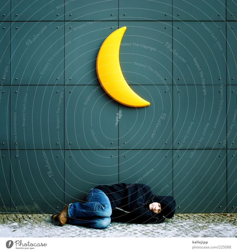 la-le-lu Well-being Relaxation Calm Human being Life 1 30 - 45 years Adults Sleep Moon Crescent moon Universe Dream Homeless Lie Tramp Freeze to death Cold