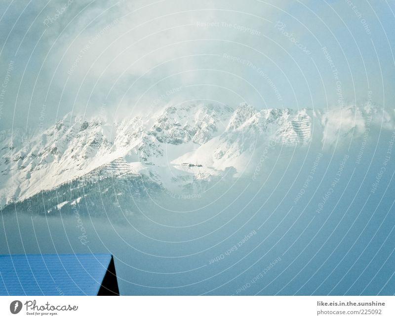 White Clouds Winter Far-off places Cold Snow Mountain Landscape Fog Large Esthetic Roof Exceptional Alps Fantastic Peak