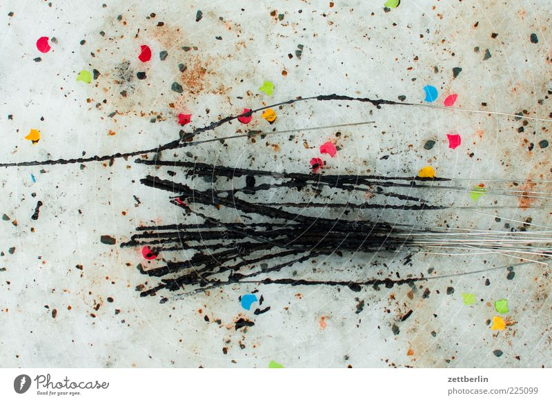 Winter Feasts & Celebrations Dirty Trash New Year's Eve Remainder Confetti Second-hand Burnt Sparkler Multicoloured Light Pyrotechnics Soot The morning after