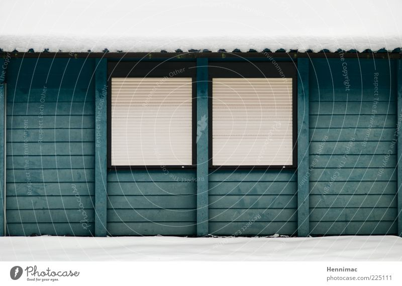 Today is a rest day. Winter Snow House (Residential Structure) Closing time Deserted Hut Building Facade Window Eaves Wood Stripe Cold Blue White Calm Empty