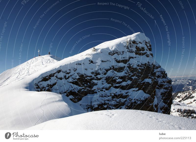 Nature Blue Vacation & Travel Winter Snow Mountain Landscape Environment Hiking Rock Tourism Target Alps Travel photography Peak Beautiful weather