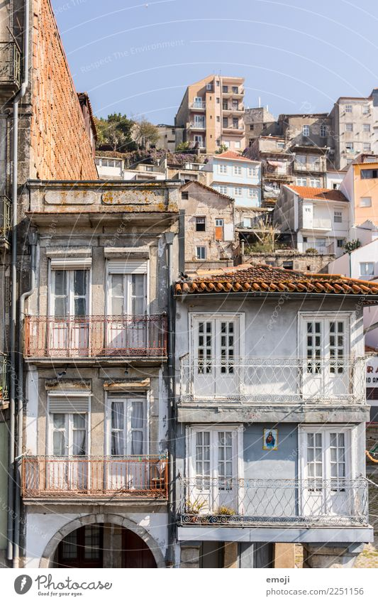postage Town Outskirts Deserted House (Residential Structure) Wall (barrier) Wall (building) Facade Old Tourism Porto Portugal Colour photo Exterior shot Day