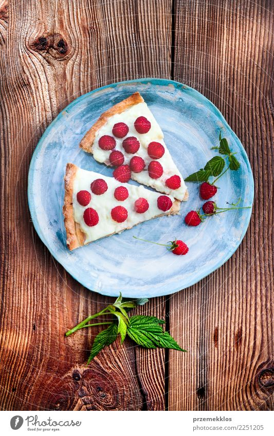 Home cake on blue handmade pottery plate Wood Food Above Fruit Table Delicious Candy Rust Dessert Sense of taste Slice Rustic Self-made Raspberry Baking Tasty