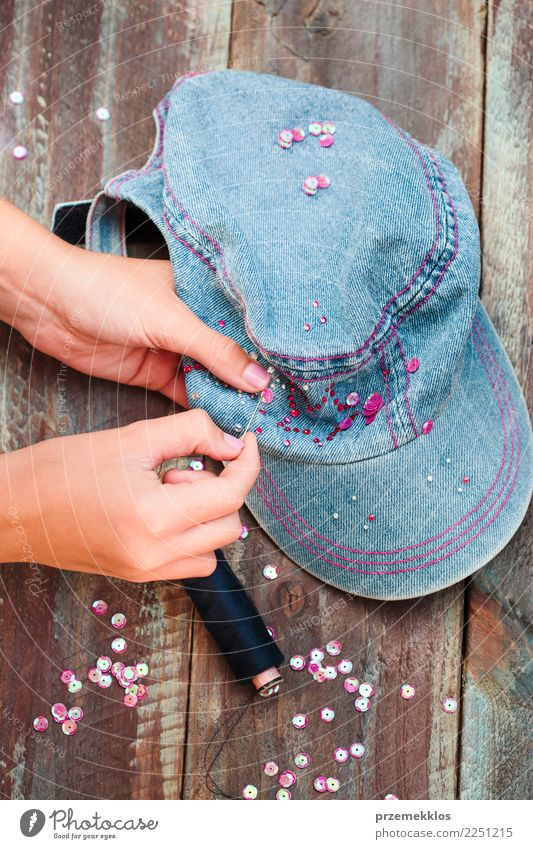 Decorating cap with sequins following diy ideas Design Leisure and hobbies Decoration Table Craft (trade) Scissors Young woman Youth (Young adults) Woman Adults