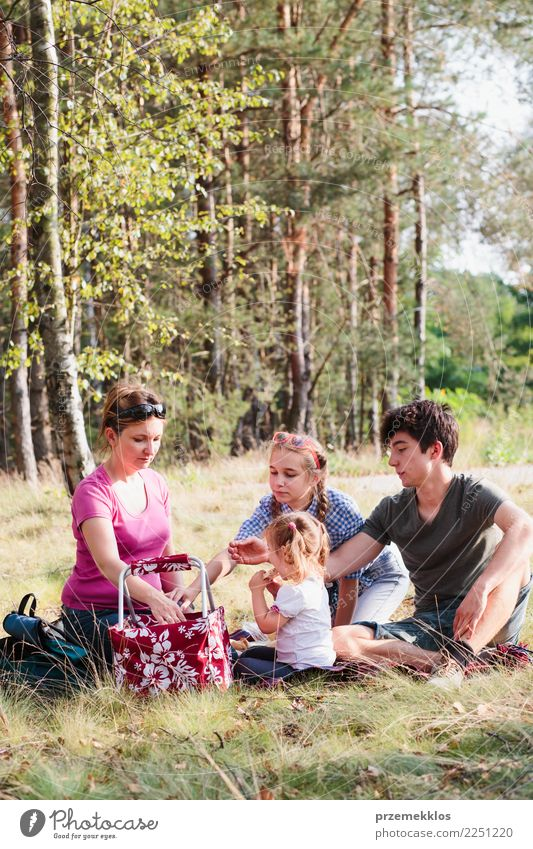 Family spending vacation time together on a picnic Lifestyle Joy Happy Relaxation Vacation & Travel Summer Child Human being Girl Boy (child) Mother Adults