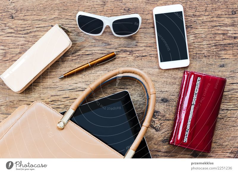 Things pulled out of handbag Lifestyle Shopping Elegant Style Contentment Desk Telephone Cellphone PDA Accessory Bag Sunglasses Pen To fall Above Handbag mobile