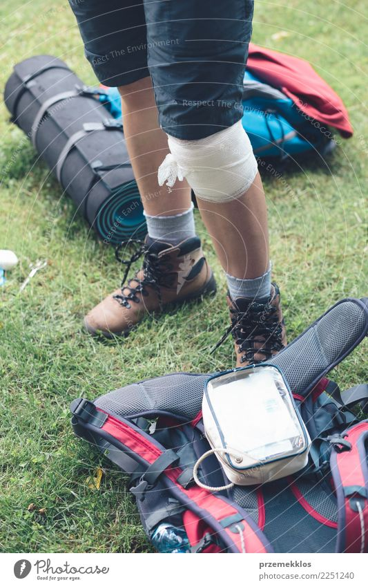 Woman injured in the accident on mountain hike Lifestyle Vacation & Travel Summer Sports Human being Adults Legs 1 18 - 30 years Youth (Young adults)