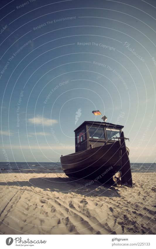 on the dry Fishing boat Environment Nature Landscape Elements Sand Water Sky Summer Beautiful weather Coast Baltic Sea Ocean Old Flag German Flag Sandy beach