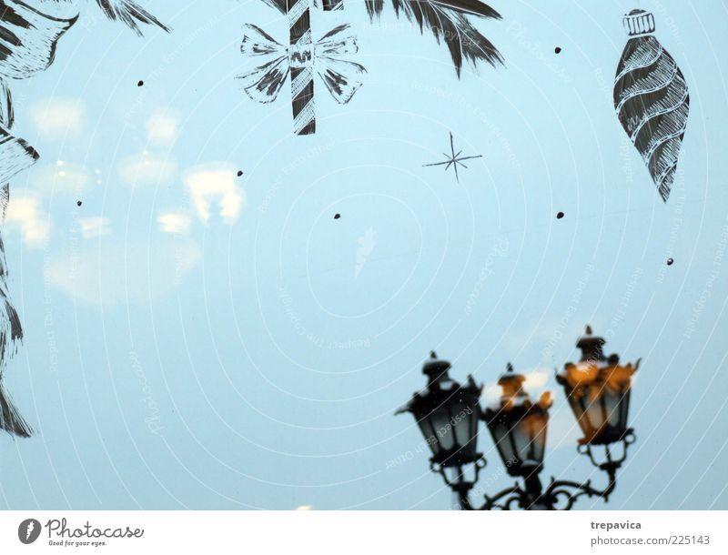 frohes neues jahr Blue Christmas & Advent Joy Winter Window Feasts & Celebrations Moody Glass Decoration Esthetic Happiness Warm-heartedness Joie de vivre (Vitality) Romance Kitsch Restaurant