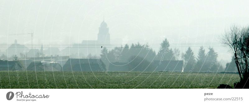 Fog over Usingen Town Autumn Panorama (View) Taunus Morning Large Panorama (Format)