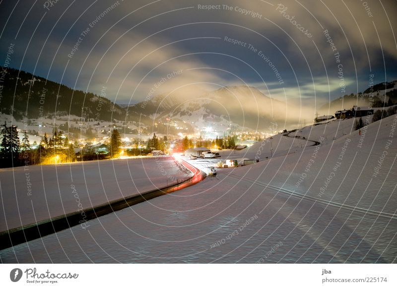 Clouds Winter Street Relaxation Snow Mountain Environment Movement Fog Tourism Driving Alps Switzerland Village Traffic infrastructure Beautiful weather