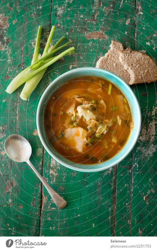 Today I brew Food Vegetable Soup Stew Cabbage Fennel Bread Peas Nutrition Eating Lunch Dinner Vegetarian diet Diet Fasting Bowl Spoon Fresh Healthy Delicious