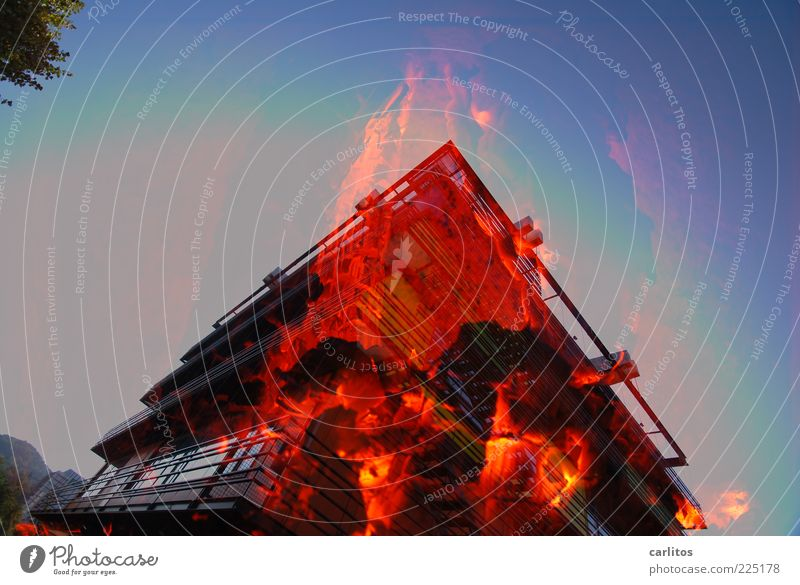 Blue Red Black Window Warmth Building Facade Blaze Energy Fire Dangerous Threat Bank building Transience Hot Illuminate