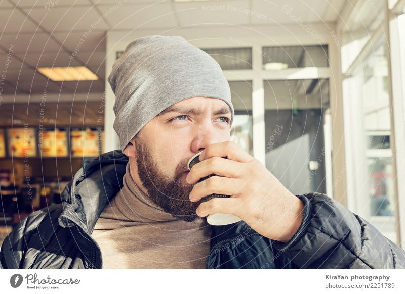 Adult bearded man drinking hot coffee To have a coffee Drinking Coffee Tea Lifestyle Man Adults Face Eyes Hand Fingers 1 Human being 30 - 45 years Clothing