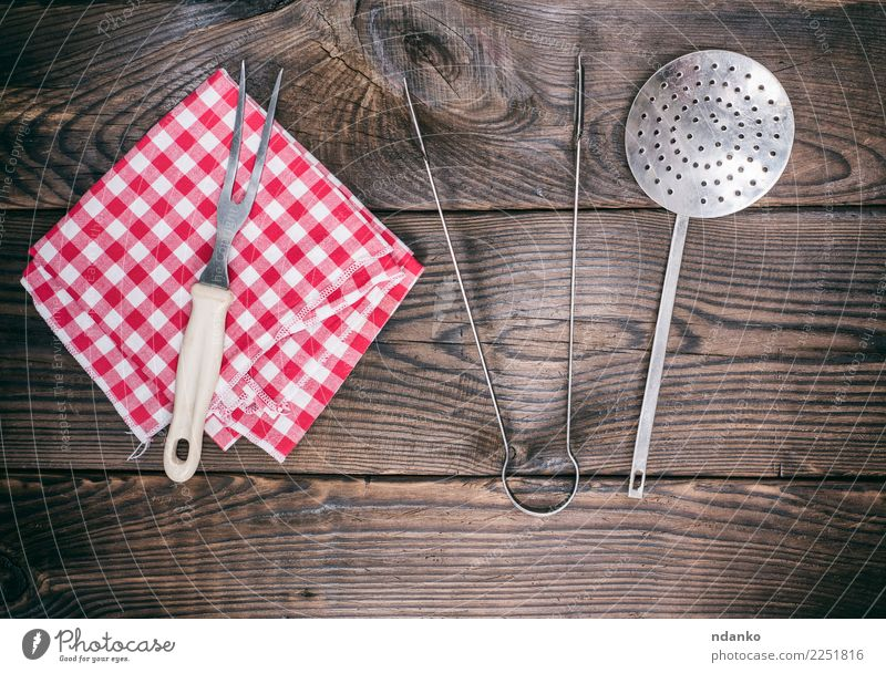 wooden background with vintage kitchen utensils Cutlery Fork Table Kitchen Restaurant Cloth Wood Old Retro Brown Red cooking Top Tablecloth Rustic board food