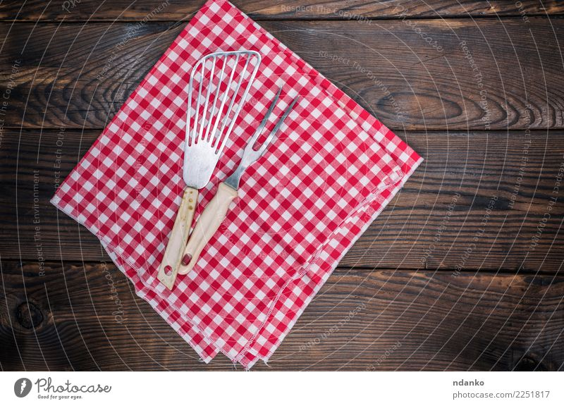 vintage kitchen appliances on a red napkin Cutlery Fork Table Kitchen Cloth Wood Retro Brown Red White cover picnic empty Menu textile Tablecloth Consistency