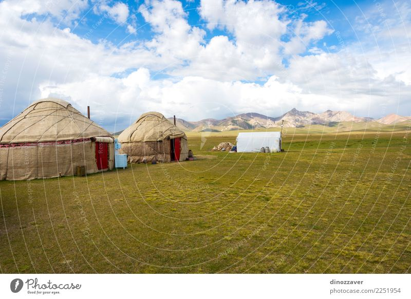 Yurts by Song Kul Lake, Kyrgyzstan Vacation & Travel Tourism Camping Summer Mountain House (Residential Structure) Culture Nature Landscape Grass Meadow Hill