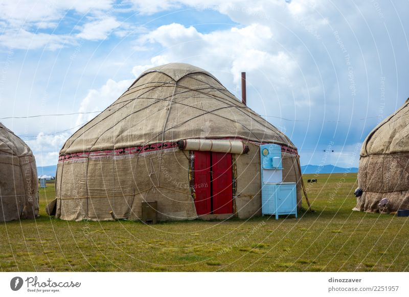 Yurt, nomad house Vacation & Travel Tourism Camping Summer Mountain House (Residential Structure) Culture Nature Landscape Grass Meadow Hill Lake Wood Green