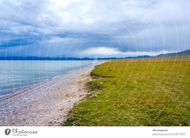 Song Kul lake, Kyrgyzstan Beautiful Vacation & Travel Tourism Summer Mountain Nature Landscape Sky Clouds Grass Park Meadow Hill Rock Lake Natural Blue Green