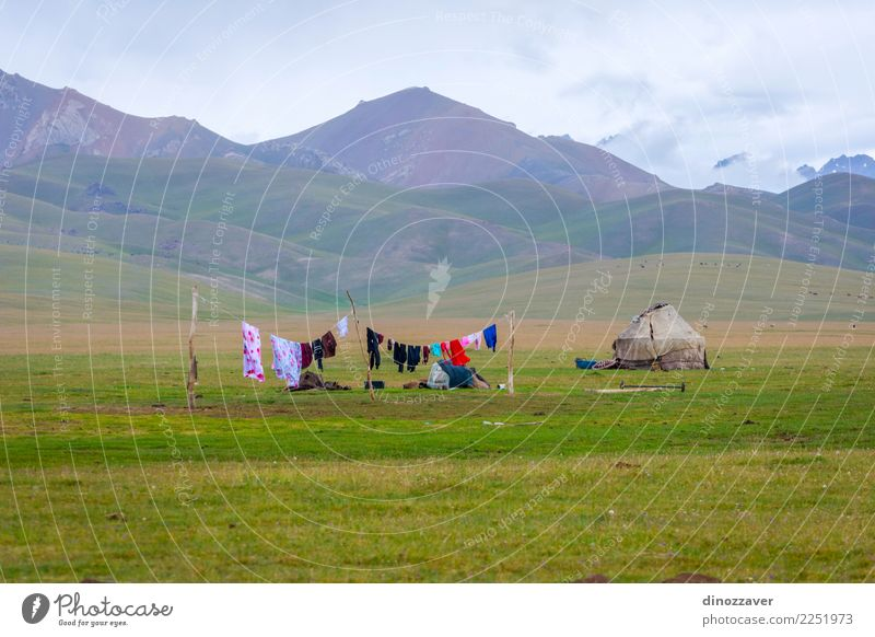 Yurt with laundry drying, Kyrgyzstan Vacation & Travel Tourism Camping Summer Mountain House (Residential Structure) Culture Nature Landscape Grass Meadow Hill