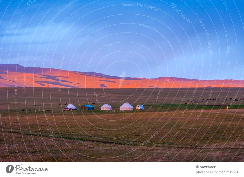 Yurts in sunset, Song Kul, Kyrgyzstan Vacation & Travel Tourism Camping Summer Sun Mountain House (Residential Structure) Culture Nature Landscape Grass Meadow