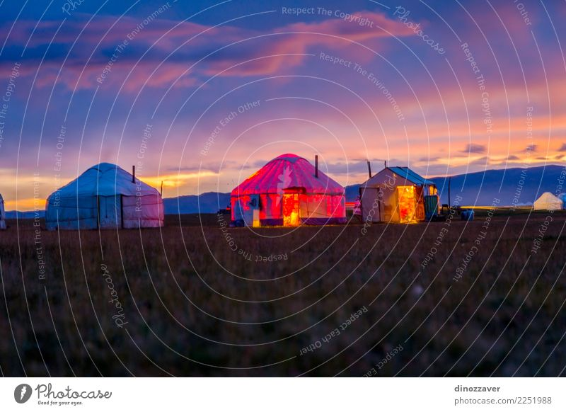 Yurts in twilight, Song Kul Vacation & Travel Tourism Camping Summer Mountain House (Residential Structure) Culture Nature Landscape Grass Meadow Hill Lake Wood