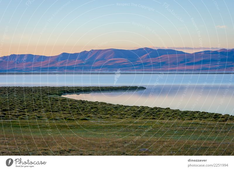 Song Kul lake in sunrise, Kyrgyzstan Beautiful Vacation & Travel Summer Snow Mountain Nature Landscape Sky Clouds Fog Grass Park Meadow Hill Rock Lake Natural